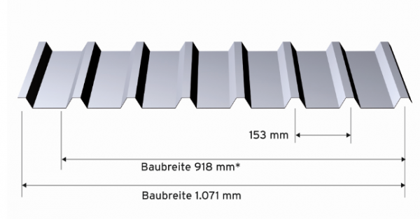 Alu-Trapez 30x153x0,7 mm, stucco - Zuschnitt