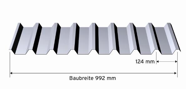 Alu-Trapez 29x124x0,7 mm, RAL 7016 / Dach / Zuschnitt